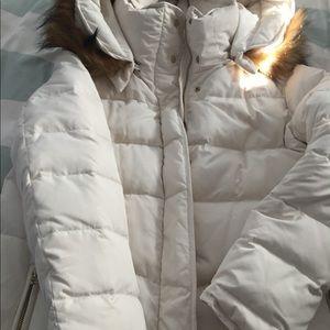 Zara puffer coat with fur-lined hood